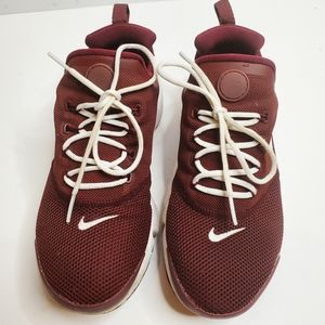 Nike Maroon White Kids Presto Fly Sneakers 5Y Run